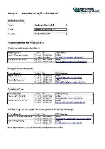 Anlage 3 Ansprechpartner - Stadtwerke Norderstedt