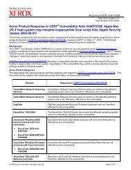 Response to CERT Advisory CA-2002-18 - Xerox