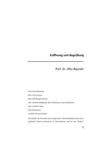 Eröffnung und Begrüßung Prof. Dr. Ülkü Bay›nd›r - konrad adenauer ...