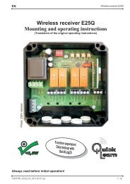Wireless receiver E25Q Mounting and operating instructions - Piwa
