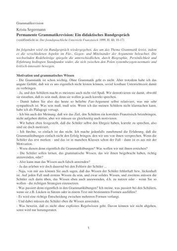 Krista Segermann Permanente Grammatikrevision: Ein didaktisches ...