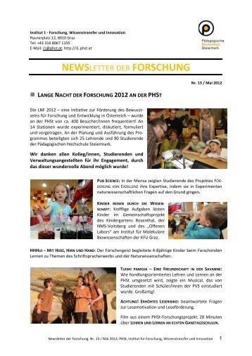 Newsletter Mai 2012 - Home, Pädagogische Hochschule Steiermark