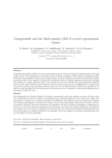 Compressible and low Mach number LES of a swirl ... - cerfacs