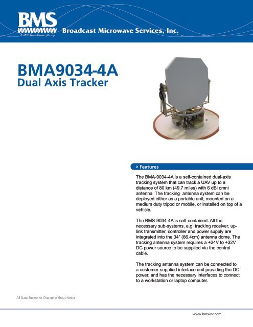 BMA-9034 Dual Axis Tracking Antenna Datasheet - Broadcast