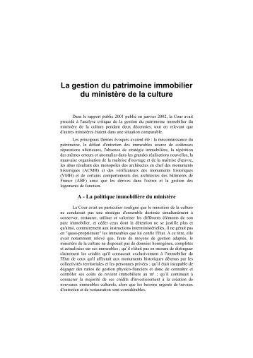 Patrimoine immobilier du ministère de la culture ... - Cour des comptes