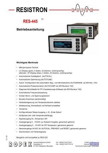 RES-445 - Schweißen thermoplastischer Kunststoffe insbesondere ...