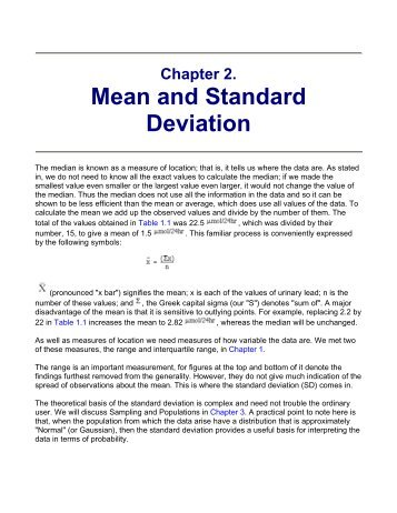 Chapter 2. mean and standard deviation