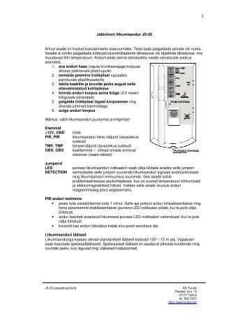 Jablotroni liikumisandur JS-20 Antud seade on loodud ...