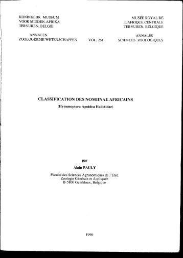 CLASSIFICATION DES NOMIINAE AFRICAINS