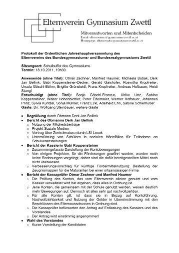 Protokoll der Ordentlichen ... - Elternverein Gymnasium Zwettl