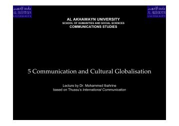 5 Communication and Cultural Globalisation - Al Akhawayn University
