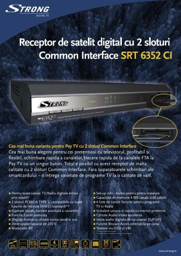 Receptor de satelit digital cu 2 sloturi Common Interface SRT 6352 CI