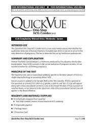 intended use summary and explanation principle of the test ... - Quidel