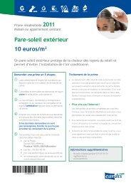 Pare-soleil extérieur 10 euros/m2 - Eandis
