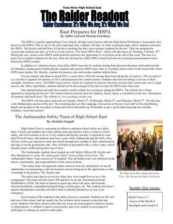 East Prepares for HSPA - Toms River Regional Schools