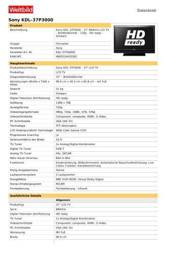 Sony KDL-37P3000 - Weltbild.de