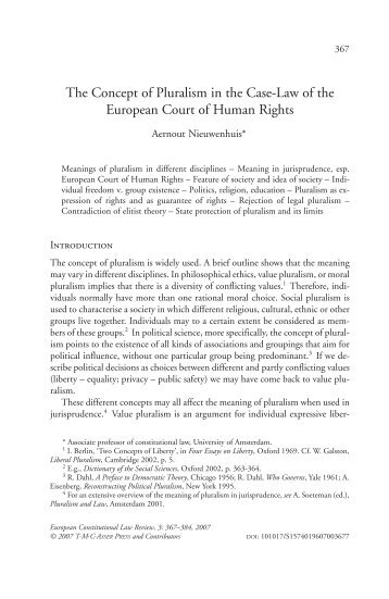 The Concept of Pluralism in the case law of the ECtHR - IViR