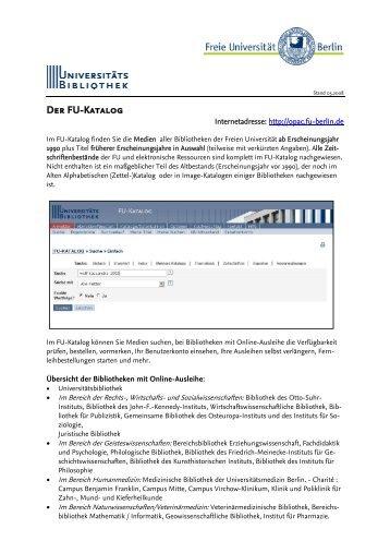 Der FU-Katalog - Universitätsbibliothek der Freien Universität Berlin
