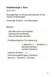 Prädikatenlogik 1. Stufe (kurz: PL1) Aussagenlogik zu ... - GWDG