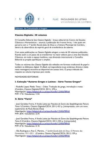 Classica Digitalia - 50 volumes - Universidade de Coimbra