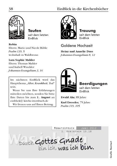 EinBlick Nr 57, Juni 2012 - Evangelische Kirchengemeinde Ittersbach
