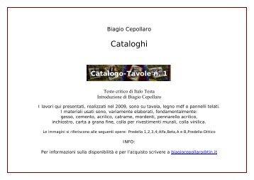 Catalogo delle opere su tavola n.1, 2009 - Biagio Cepollaro, poesia