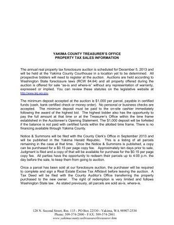 YAKIMA COUNTY TREASURER'S OFFICE PROPERTY TAX SALES ...