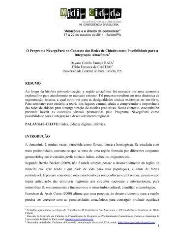 O Programa NavegaPará no Contexto das Redes de Cidades como ...
