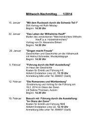 Programm AG Mitwochnachmittag 1. Halbjahr 2014