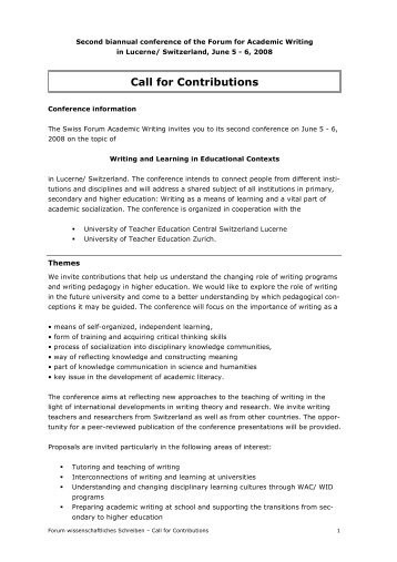 Call for Contributions - Zeitschrift Schreiben