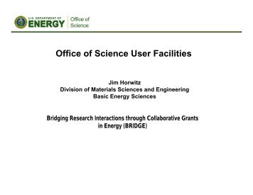 Office of Science User Facilities - EERE