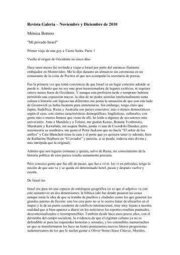 Revista Galería – Noviembre y Diciembre de 2010 Mónica Bottero