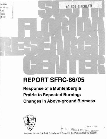 REPORT SFRC-86/05 - FIU Digital Collections