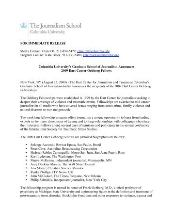 FOR IMMEDIATE RELEASE Media Contact - Columbia University ...
