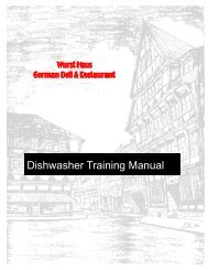 DISHWASHER TRAINING MANUAL With Washout - The Wurst Haus