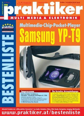 Samsung YP-T9: Multimedia-Chip-Pocket-Player - ITM ... - Praktiker.at