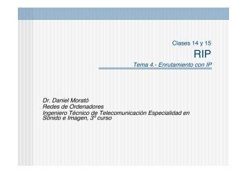 Tema 4.- Enrutamiento con IP Dr. Daniel Morató Redes de ...