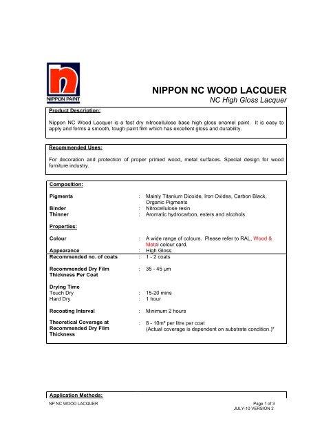 Nippon NC Wood Lacquer TSDS - Nippon Paint Malaysia