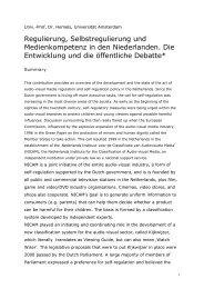 Regulierung, Selbstregulierung und Medienkompetenz in den ... - GPI