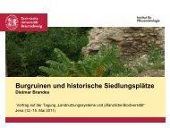 Burgruinen und historische Siedlungsplätze