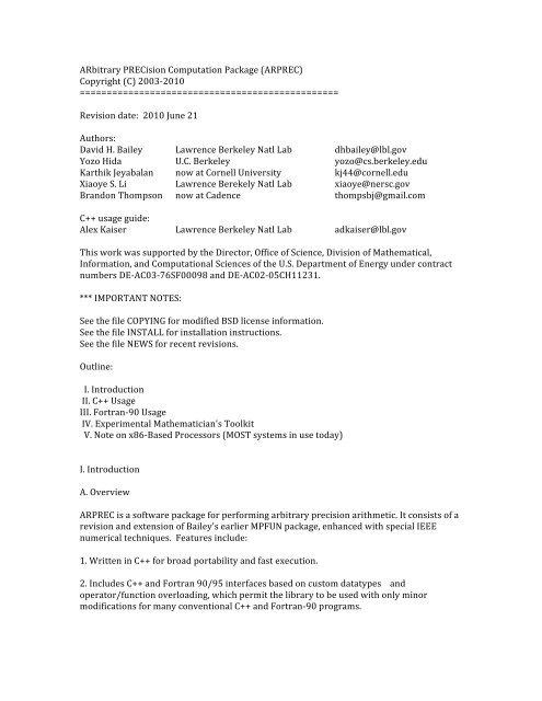 ARbitrary PRECision Computation Package (ARPREC) Copyright