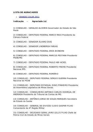 Lista dos homenageados - Ordem dos Advogados do Brasil
