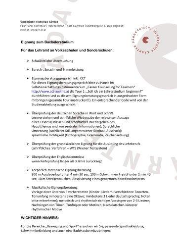 Eignung zum Bachelorstudium Für das Lehramt an Volksschulen ...