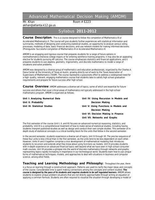 Advanced Mathematical Decision Making (AMDM) - Atlanta