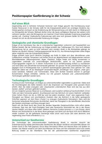 Positionspapier Gasförderung in der Schweiz - WWF Schweiz