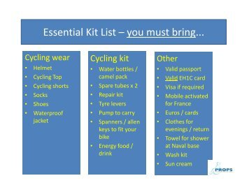 Essential Kit List – you must bring... - PROPS