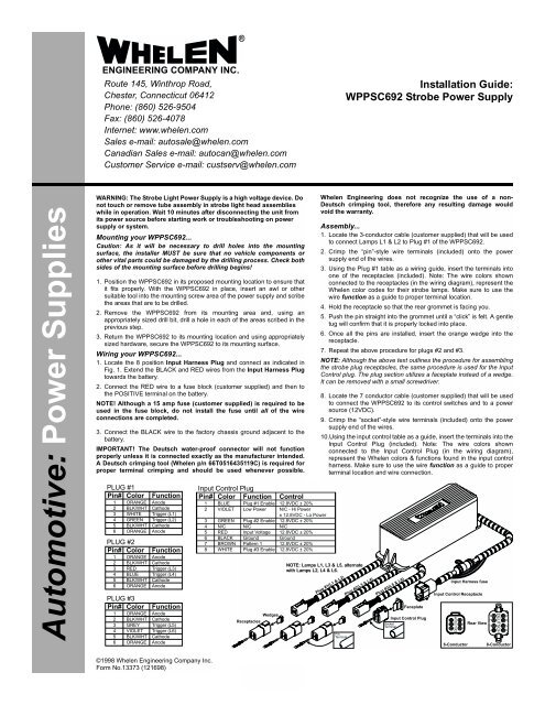 13373: wppsc692 strobe power supply - whelen engineering on whelen led  light bar, single old whelen strobe light wiring diagram
