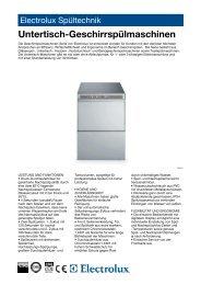 Untertisch-Geschirrspülmaschinen - Electrolux