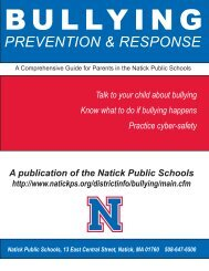 Bullying Prevention & Response Newsletter - Natick Public Schools