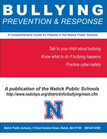 Bullying Prevention & Response Newsletter - Natick Public Schools